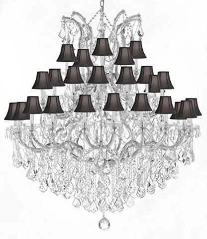 "Large Foyer / Entryway Maria Theresa Empress Crystal (Tm) Chandelier Lighting W/Black Shade H 60"" W 52"" - Gb104-Silver/Blackshade/B12/2756/36+1"
