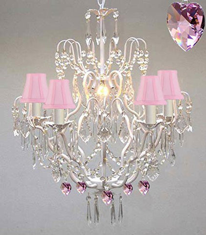 Wrought Iron & Crystal Chandelier Authentic Empress Crystal(Tm) Chandelier With Pink Hearts! Nursery, Kids, Girls Bedrooms, Kitchen, Etc. With Pink Shades! - P7-Pinkshades/White/B21/C/3033/5