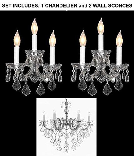 "Set Of 3 - 1 Maria Theresa Crystal Lighting Chandeliers H 30"" W 22"" And 2 Maria Theresa Wall Sconce Crystal Lighting H14"" x W11.5"" - 1Ea-B12/Cs/26067/6+2Ea-Cs/3/2813"