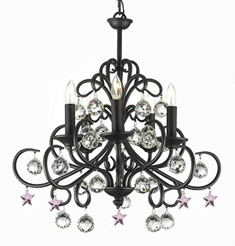 "Bellora Crystal Wrought Iron Chandelier Lighting Empress Crystal (Tm) With Faceted Crystal Balls And Pink Stars H 22"" W 20"" - A7-B38/586/5"