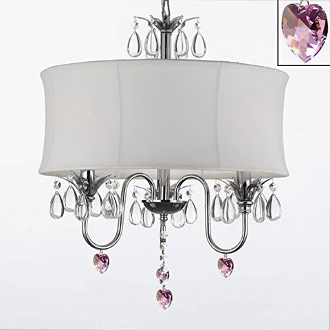 "Crystal Chandelier With Large White Shade And Pink Crystal Hearts W18"" H 22"" - Perfect For Kids' And Girls Bedrooms - J10-B21/White/26033/3"
