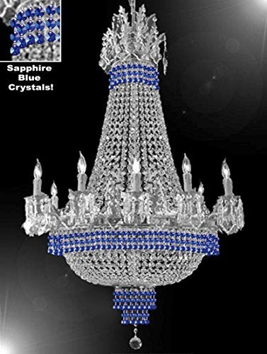 "Empire Crystal Chandelier Chandeliers Lighting Dressed With Sapphire Blue Crystals Great For The Dining Room Foyer Living Room H32"" X W25"" - B83-Cs/1284/8+4"