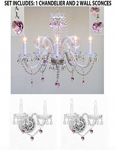 Three Piece Lighting Set - Crystal Chandelier And 2 Wall Sconces W/ Pink Crystal Hearts - B21/387/5+2Ea B21/2/386