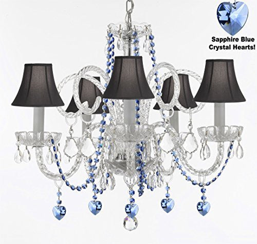 "Authentic All Crystal Chandelier Chandeliers Lighting With Sapphire Blue Crystal Hearts And Black Shades! Perfect For Living Room, Dining Room, Kitchen, Kid'S Bedroom! H25"" W24"" - A46-B85/B82/Sc/Blackshades/385/5"