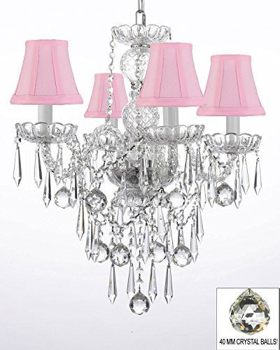 All Crystal Chandelier W/ 40Mm Crystal Balls & Crystal Icicles And - With Shades - G46-Pinkshades/B29/3/275/4