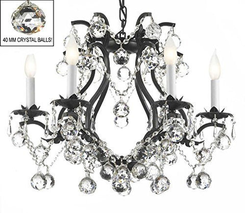 "Swarovski Crystal Trimmed Chandelier Black Wrought Iron Crystal Chandelier Lighting H 19"" W 20"" Dressed With Feng Shui 40Mm Crystal Balls - A83-B6/3530/6 Sw"
