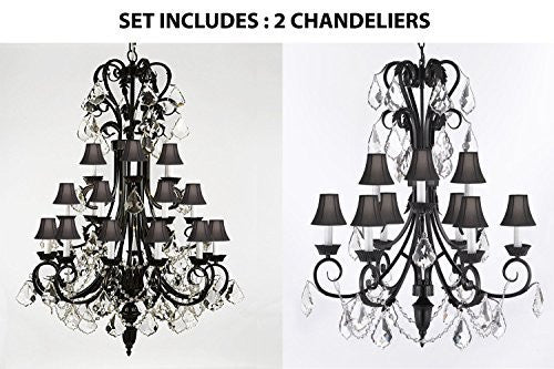 "Set Of 2 - 1-Wrought Iron Chandelier With Black Shades H50"" X W30"" And Wrought Iron Empress Crystal (Tm) Chandelier With Black Shades H 30"" X W 26"" - 1Ea-B12/724/24+1Ea-B12/724/6+3-Blkshd"