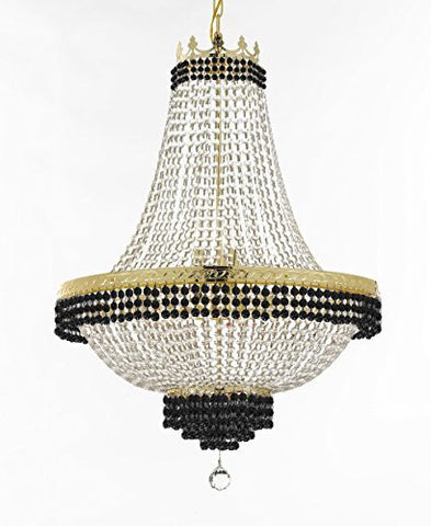 "French Empire Crystal Chandelier Chandeliers Lighting Trimmed With Jet Black Crystal Good For Dining Room Foyer Entryway Family Room And More H30"" X W24"" - F93-B79/Cg/870/9"