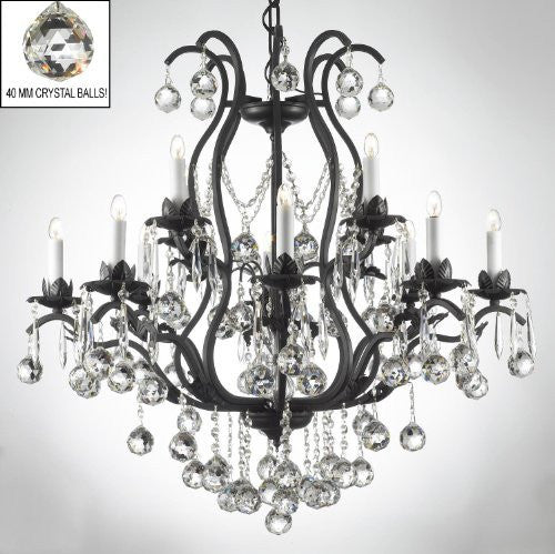 "Wrought Iron Crystal Chandelier Lighting Dressed W/ Crystal Balls H36"" W36"" - A83-B6/3034/10+5"