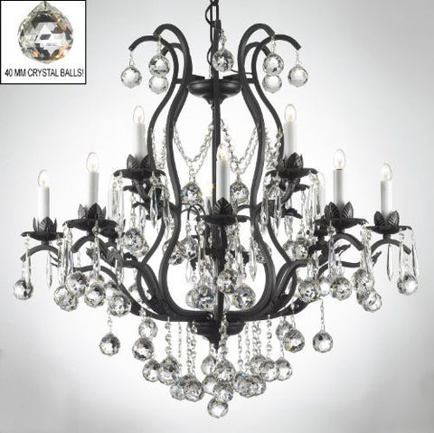 Wrought Iron Crystal Chandelier Lighting Dressed W/ Crystal Balls - A83-B6/3034/8+4