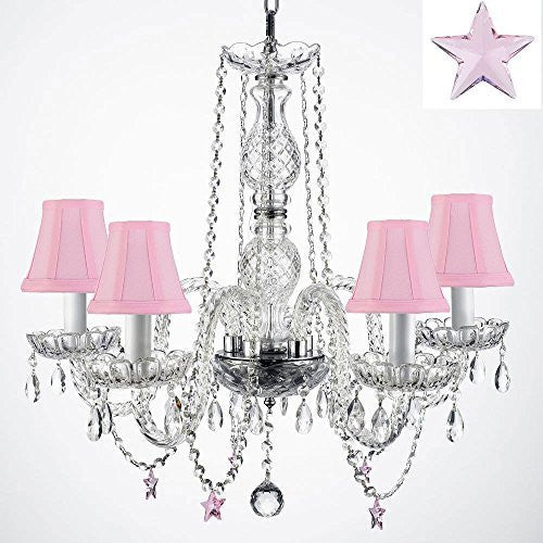 "Authentic Empress Crystal(Tm) Chandelier With Crystal Stars! H25"" X W24"" - Nursery, Kids, Girls Bedrooms, Kitchen, Etc With Pink Shades! - G46-Pinkshades/B38/384/5"