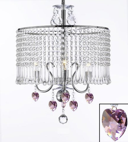 "Contemporary 3-Light Crystal Chandelier Lighting With Crystal Shade And Pink Crystal Hearts! W 16"" X H 21"" Swag Plug In-Chandelier W/ 14' Feet Of Hanging Chain And Wire! - G7-B15/B21/1000/3"