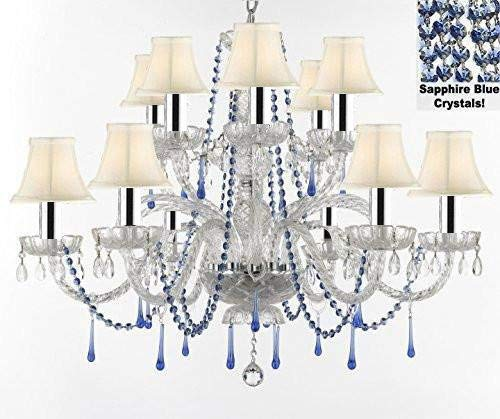 "AUTHENTIC ALL CRYSTAL CHANDELIER CHANDELIERS LIGHTING WITH SAPPHIRE BLUE CRYSTALS AND WHITE SHADES! PERFECT FOR LIVING ROOM, DINING ROOM, KITCHEN W/CHROME SLEEVES! H32"" W27"" - A46-B43/B82/WHITESHADES/387/6+6"