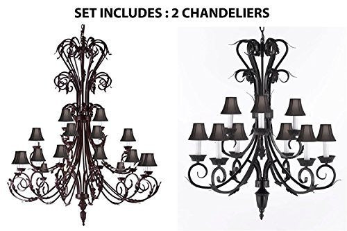 "Set Of 2 - 1-Wrought Iron Chandelier 50"" Inches Tall With Black Shades H50"" X W30"" And 1-Wrought Iron Chandelier With Black Shades H 30"" W 26"" 9 Lights - 1Ea-Sc/724/24+1Ea-Sc/724/6+3-Blkshd"