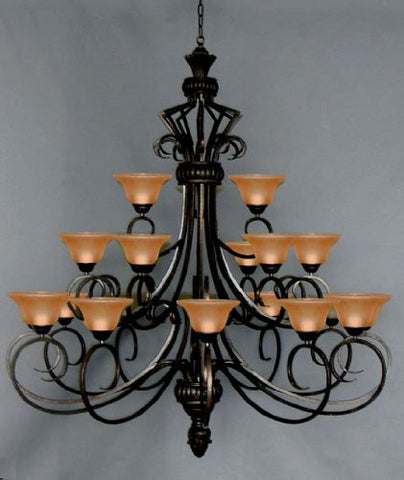 Six FT Wrought Iron Chandelier Large Foyer Entryway Lighting Country French 3 Tiers 21 Lights HT72 X WD55 Ceiling Fixture Wrought Foyer - J10-568/21