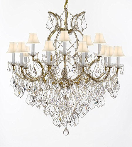 "Maria Theresa Chandelier Crystal Lighting Fixture Pendant Ceiling Lamp For Dining Room Entryway Living Room Dressed With Large Luxe Diamond Cut Crystals H38"" X W37"" With Whiteshades - A83-B90/Whiteshades/21510/15+1Dc"