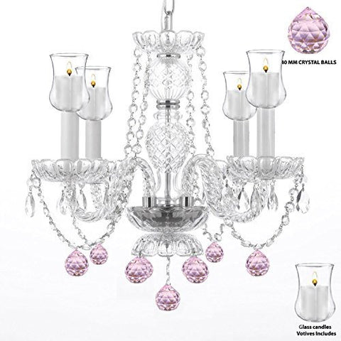 "Crystal Chandelier Lighting Chandeliers W/ Candle Votives H17"" W17"" - For Indoor / Outdoor Use Great For Outdoor Events Hang From Trees / Gazebo / Pergola / Porch / Patio / Tent - G46-B31/B76/275/4"