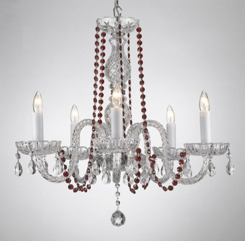 Crystal Chandelier Lighting With Red Color Crystal - A46-Redb1/384/5
