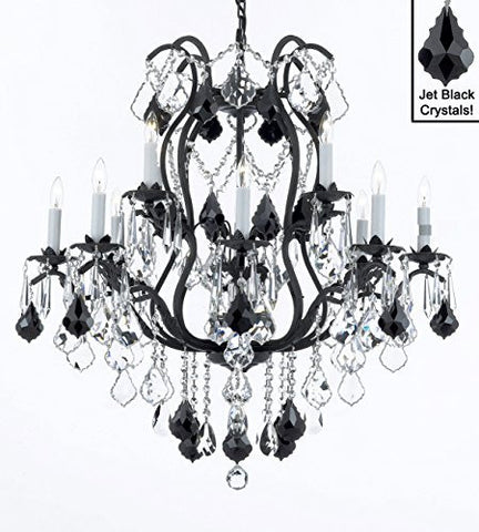 "Wrought Iron Crystal Chandelier Lighting Chandeliers H30"" X W28"" - A83-B20/3034/8+4"
