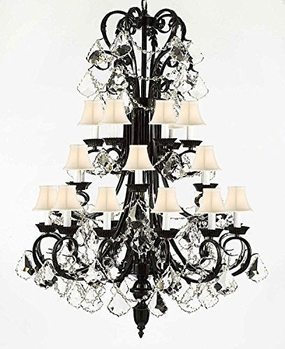 "Foyer / Entryway Wrought Iron Chandelier 50"" Inches Tall With Crystal With Shades H50"" X W30"" - A84-Whiteshades/B13/724/24"
