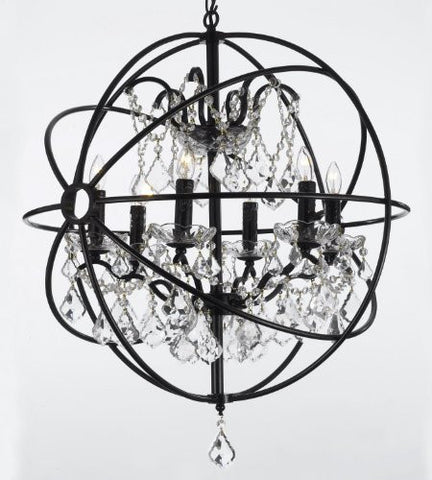 "Spherical Orb Wrought Iron Crystal Chandelier Lighting Country French 6 Lights Ceiling Fixture Sphere Modern Rustic H 25"" W 24"" - J10-30198/6"