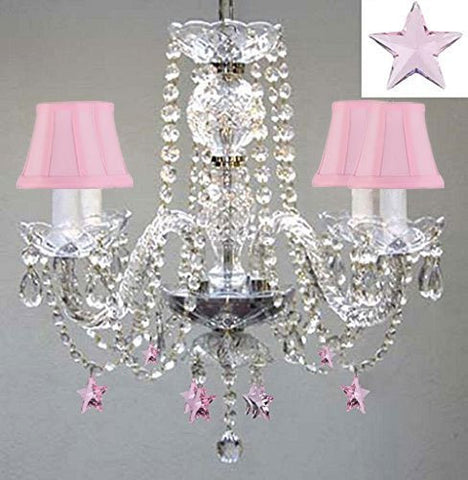 "Empress Crystal(Tm) Chandelier Lighting W/ Pink Crystal Stars! H 17"" W17"" - Nursery, Kids, Girls Bedrooms, Kitchen, Etc With Pink Shades! - G46-Pinkshades/B38/275/4"