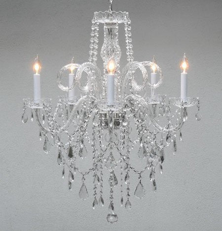 "Swarovski Crystal Trimmed Chandelier Authentic All Crystal Chandelier H30"" X W24"" - Go-A46-3/385/5 Sw"