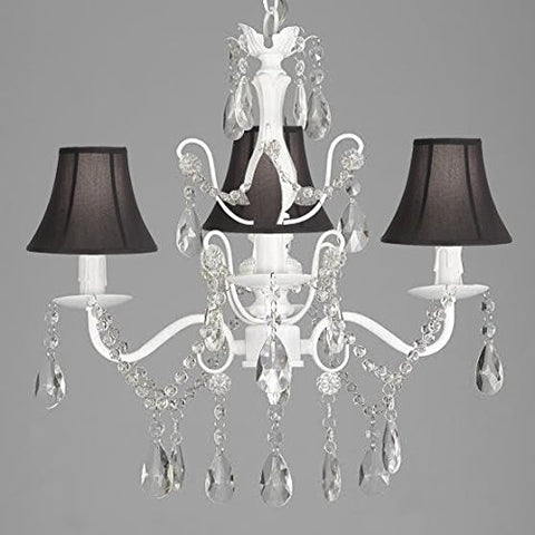 "Wrought Iron and Crystal 4 Light White Chandelier H 14"" X W 15"" Pendant Fixture Lighting Hardwire and Plug In with Shades - J10-SC/SCL-01490CW/BLACK"
