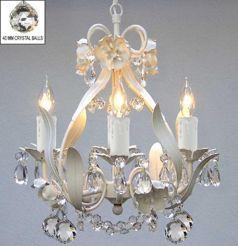 "Wrought Iron Floral Chandelier Crystal Flower Chandeliers Lighting With Crystal Balls H15"" X W11"" - J10-B6/White/26027/4"