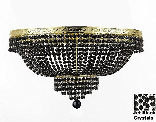 "French Empire Semi Flush Crystal Chandelier Lighting - Dressed With Jet Black Color Crystals H21"" X W30"" - F93-B80/Flush/Cg/870/14"
