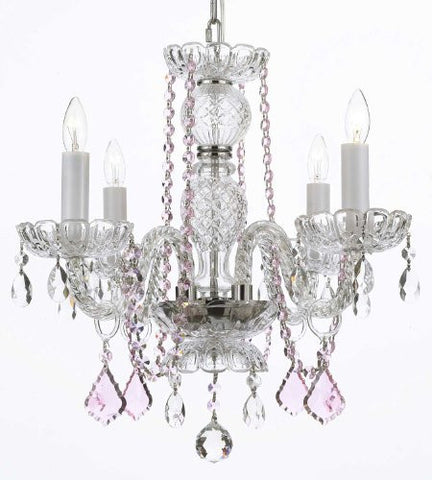 Crystal Chandelier Lighting With Pink Color Crystal - A46-Pinkb2/275/4