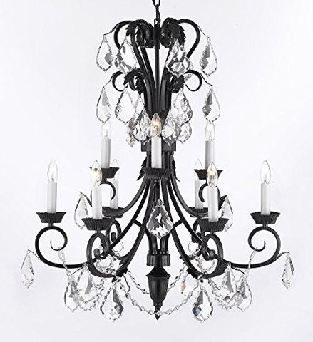 "Foyer / Entryway Wrought Iron Empress Crystal (Tm) Chandelier 30"" Inches Tall With Crystal H 30"" X W 26"" - A84-B12/724/6+3"