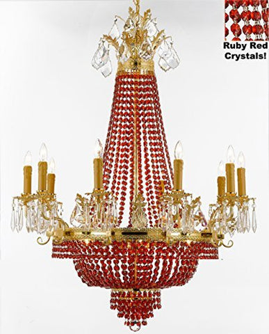 "French Empire Crystal Chandelier Chandeliers H32"" W25"" - Dressed With Ruby Red Crystals Perfect For Dining Room / Entryway / Foyer / Living Room - F93-B81/1280/8+4"