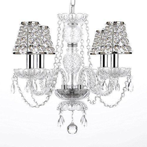 Empress Crystal (Tm) Chandelier Lighting With Chrome Sleeves And Crystal Shades Swag Plug In-Chandelier W/ 14' Feet Of Hanging Chain And Wire - G46-B15/B32/B43/275/4