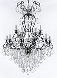 "Swarovski Crystal Trimmed Wrought Iron Crystal Chandelier Lighting W38"" H60"" - Good for Entryway, Foyer, Living Room, Ballrooms, Catering Halls, Event Halls! - F83-B12/556/16SW"