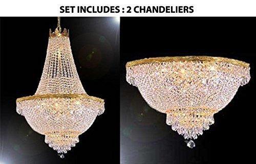 "French Empire Crystal Chandelier Lighting H24"" X W24"" And Semi Flush Chandelier Lighting H18"" X W24"" - 1Ea C3/870/9 + 1Ea Flush/870/9"