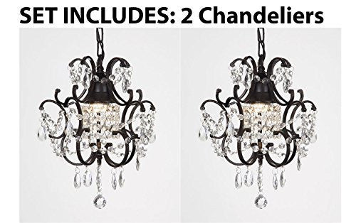 "Chandeliers Wrought Iron Crystal Chandelier Island Pendant Lighting H14"" W11"" **Set Of 2*** - J10-26030/1-Set Of 2"