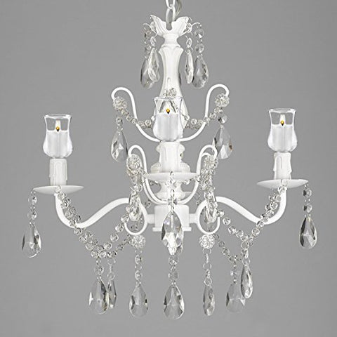 Wrought Iron & Crystal 4 Light White Chandelier Lighting W/ Candle Votives For Indoor/Outdoor Use ! Great for Outdoor Events ! Hardwire and Plug In - B31-SCL1490CW