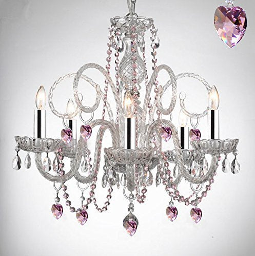Empress Crystal (Tm) Chandelier Chandeliers Lighting with Pink Color Crystal Hearts! Swag Plug In-chandelier w/14' Feet of Hanging Chain and Wire w/Chrome Sleeves PERFECT FOR KID'S AND GIRLS BEDROOM! - A46-B43/B15/B41/385/5
