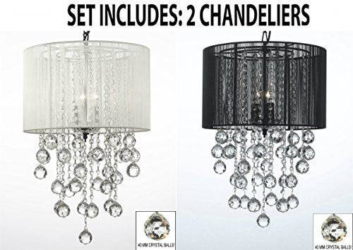 "Set Of 2 - 1 White And 1 Black Empress Crystal (Tm) Chandelier W/ Large Shade & Crystal Balls H24"" W15"" - 1Eab6/White/3/604/3+ 1Eab6/Black/3/604/3"