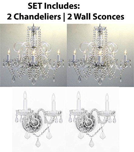 "Four Piece Lighting Set - 2 Crystal Chandeliers H25"" X W24"" And 2 Wall Sconces - 2Ea 385/5 + 2Ea B12/2/386"