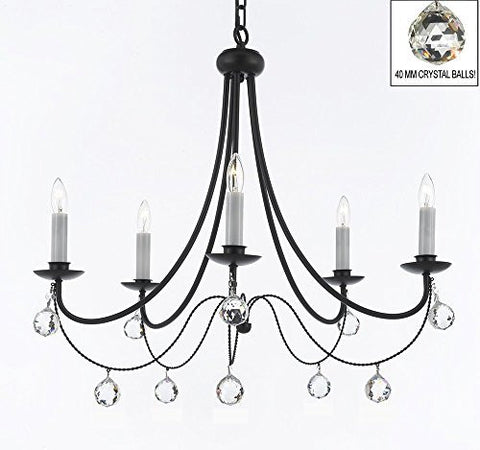 "Empress Crystal (Tm) Wrought Iron Chandelier Lighting H.22.5"" X W.26"" With Crystal Balls Swag Plug In-Chandelier W/ 14' Feet Of Hanging Chain And Wire - J10-B16/B6/26031/5"