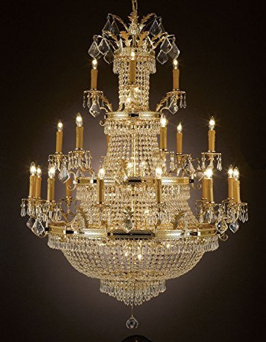 "Swarovski Crystal Trimmed Chandelier French Empire Crystal Chandelier Lighting Gold H50"" X W40"" - Perfect For An Entryway Or Foyer - A81-1287/12+6+3 Sw"