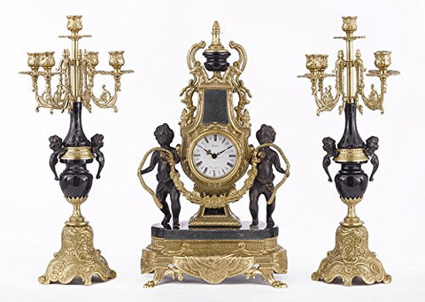 Solid Brass and Marble Baroque Mantel Clock & Candelabra Set - Made in Italy! Speciality item, Limited Stock Available - GB101-BLACK/415/440