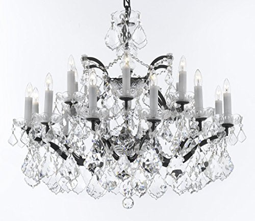 "19th C. Rococo Iron & Crystal Chandelier Lighting H 22"" x W 30"" - Dressed With Large, Luxe Crystals Good for Dining room, Foyer, Entryway, Living Room, Bedroom - G93-B62/B89/995/18DC"
