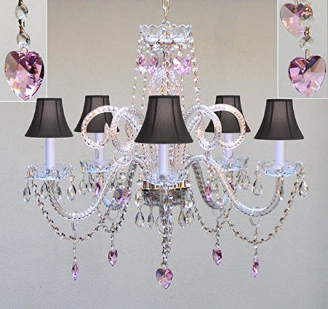 "Chandelier Lighting W/ Crystal Black Shades & Hearts! H25"" X W24"" - Perfect For Kid'S And Girls Bedroom! - Go-A46-Sc/Blackshade/Hearts/387/5/Black"