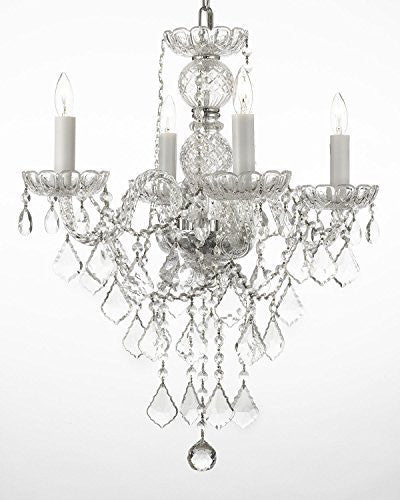 "Swarovski Crystal Trimmed Chandelier New Authentic All Crystal Chandelier Lighting H22"" X W17"" - G46-3/275/4 Sw"