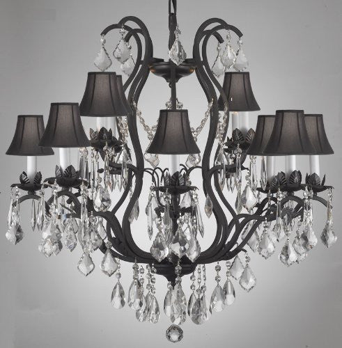 Swarovski Crystal Trimmed Chandelier Wrought Iron Crystal Chandelier Lighting With Shades - A83-Blackshades/3034/8+4 Sw