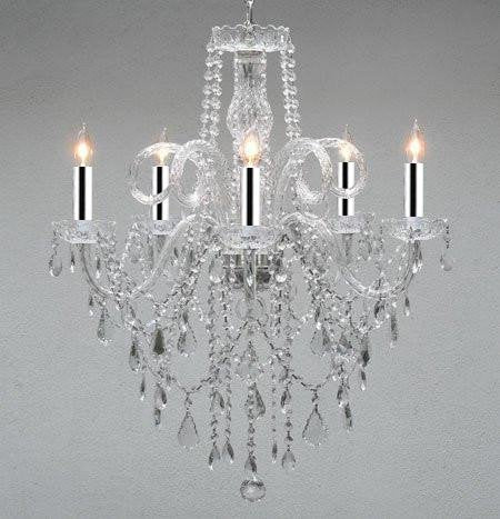 Authentic All Crystal Chandelier Chandeliers w/Chrome Sleeves! H30 X W24 - GO-A46-B43/3/385/5