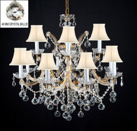 "Swarovski Crystal Trimmed Chandelier New Lighting Chandelier Chandeliers W/ Crystal Balls H 30"" X W 28"" With White Shades - A83-Sc/Whiteshades/B6/21532/12+1Sw"